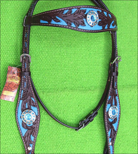 F06 HILASON WESTERN LEATHER HORSE BRIDLE HEADSTALL BROWN TURQUOISE BLING CONCHO