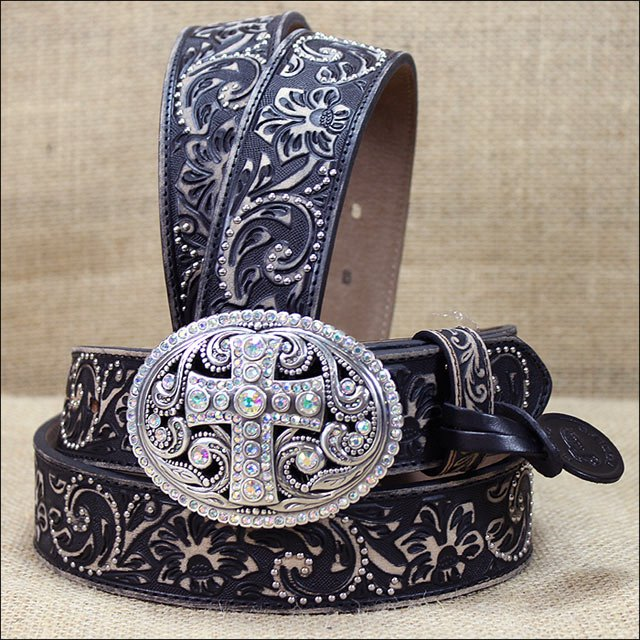"34"""" JUSTIN LADIES BLACK VINTAGE CROSS FLORAL TOOLED LEATHER BELT"