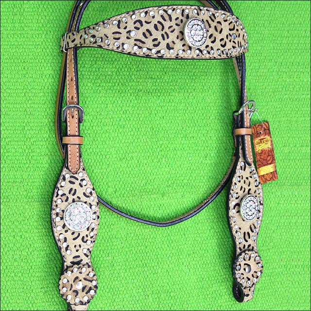 HILASON WESTERN LEATHER HORSE HEADSTALL BRIDLE LEOPARD CHEETAH BLING AB CONCHO