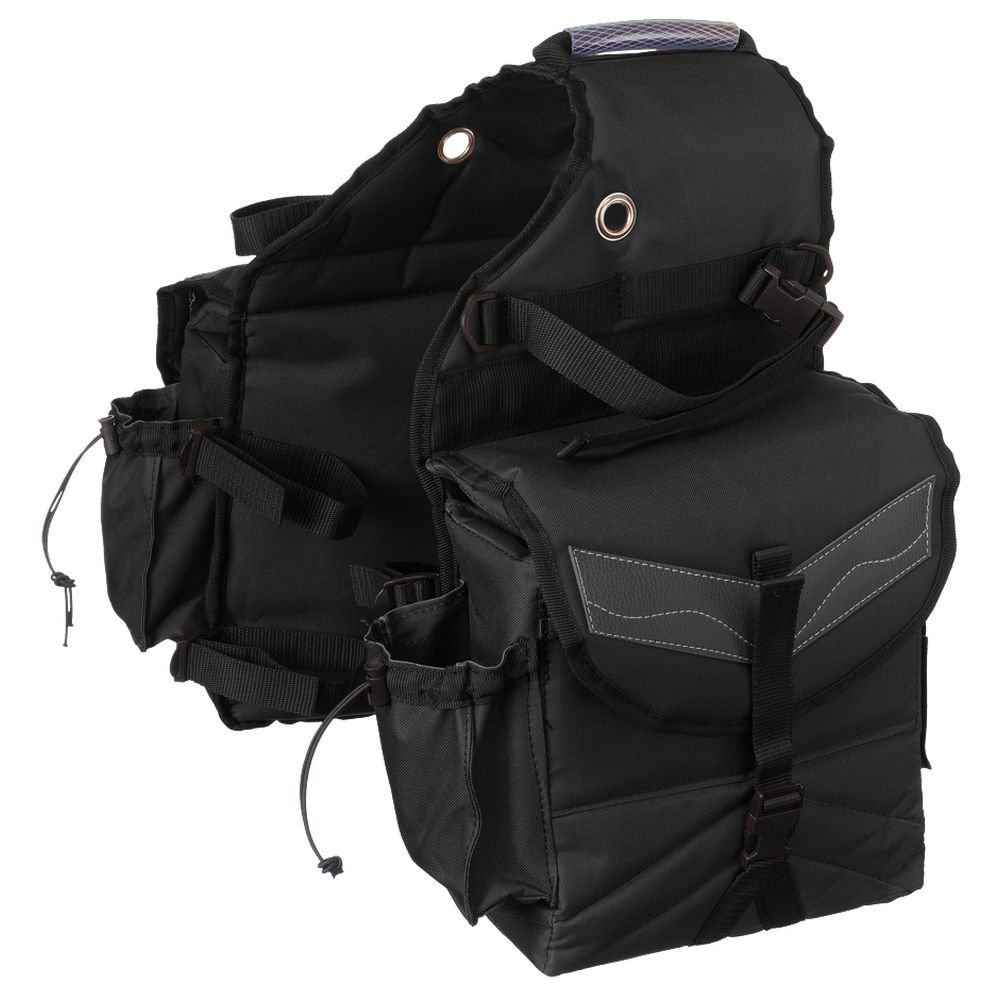 TOUGH 1 MULTI POCKET HEAVY DENIER NYLON SADDLE BAG BLACK