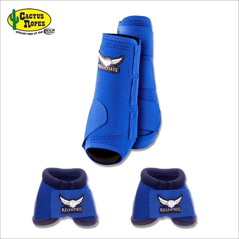 SMALL BLUE RELENTLESS TREVOR BRAZILE HORSE 2 FRONT LEG SPORT 2 BELL BOOT SET