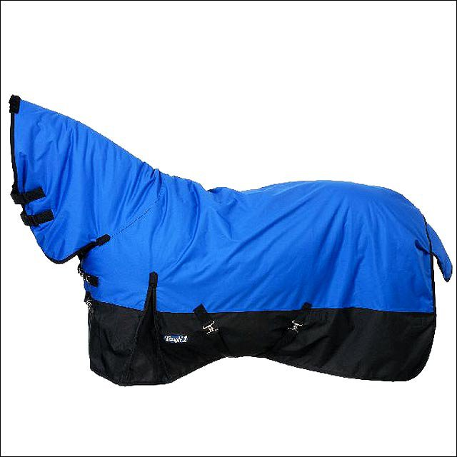 75 inch BLUE TOUGH-1 600D WATERPROOF POLY FULL NECK TURNOUT WINTER HORSE BLANKET