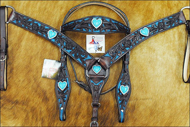 NEW HILASON WESTERN LEATHER HORSE BRIDLE HEADSTALL BREAST COLLAR W/ HEART CONCHO