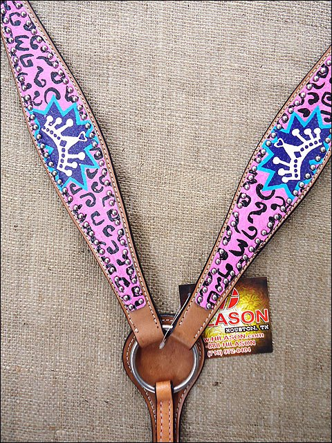 F518 NEW HILASON WESTERN HAND PAINT LEATHER HORSE BREAST COLLAR PINK BLUE ROYAL