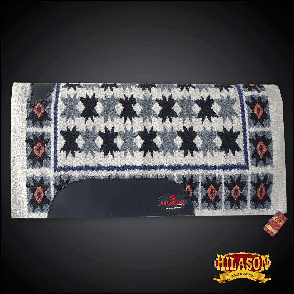 FE345-F HILASON  WESTERN NEW ZEALAND WOOL SADDLE BLANKET GREY BLACK OFF WHITE