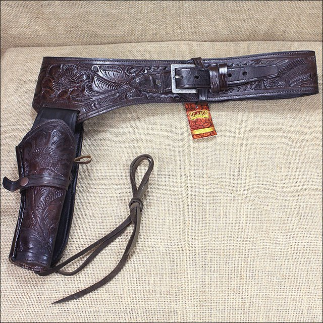 RIGHT HAND TOOL CALIBER 44/45 LEATHER WESTERN COWBOY GUN RIG HOLSTER BROWN