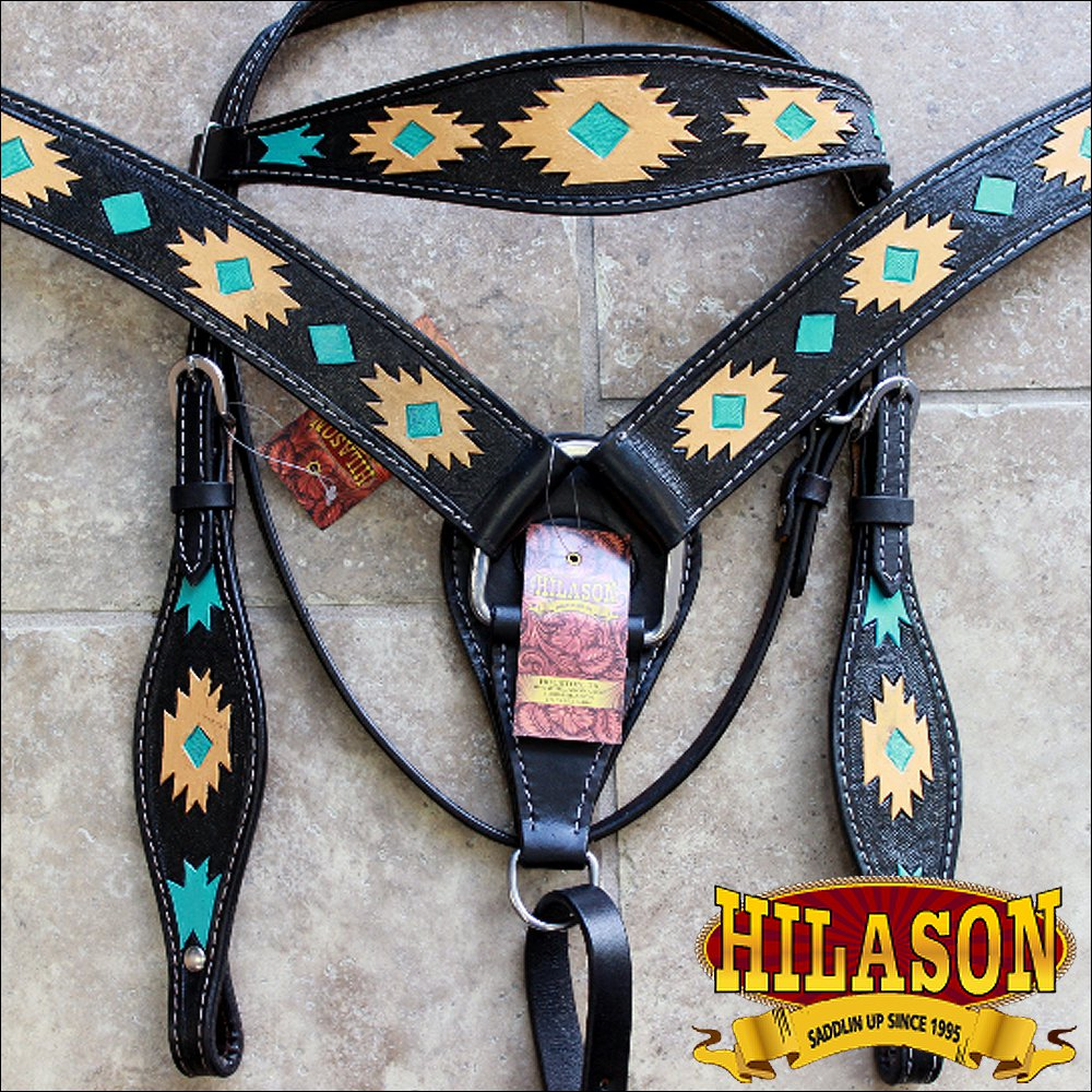 HILASON WESTERN LEATHER HEADSTALL BREAST COLLAR BLACK AZTEC HAND TOOL PAINT