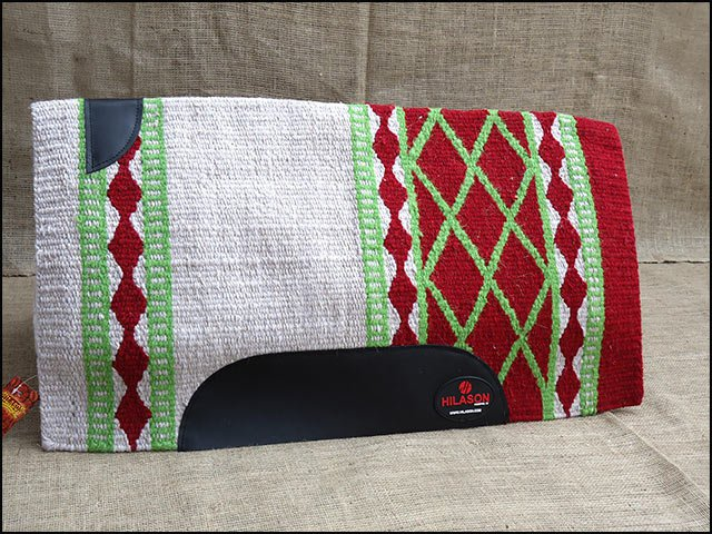FEP146 HILASON WESTERN NEW ZEALAND WOOL HORSE SADDLE BLANKET WHITE RED GREEN