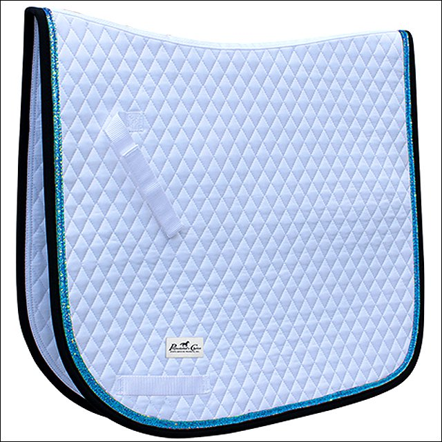 PROFESSIONAL CHOICE QUILTED DRESSAGE HORSE SADDLE PAD GLITTER TRIM PACIFIC BLUE