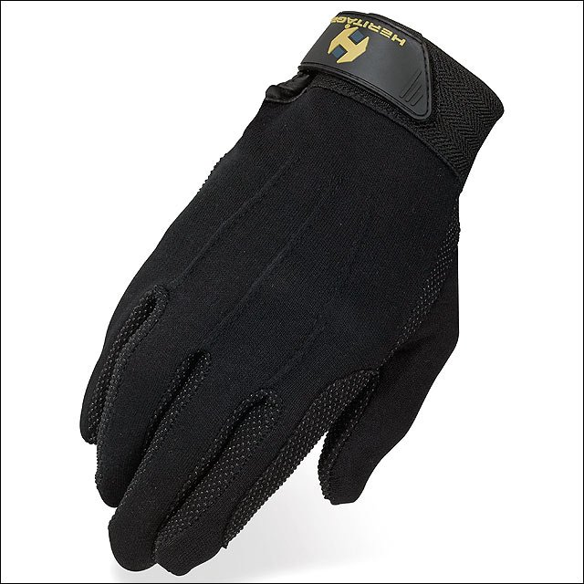 08 SIZE HERITAGE STRETCHABLE COTTON GRIP GLOVE HORSE RIDING EQUESTRIAN BLACK