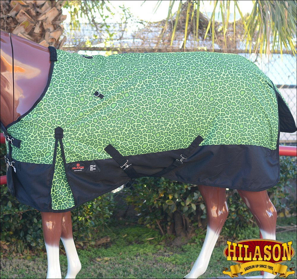"72"" HILASON 1200D POLY RIPSTOP WATERPROOF HORSE WINTER BLANKET GREEN GIRRAFE"
