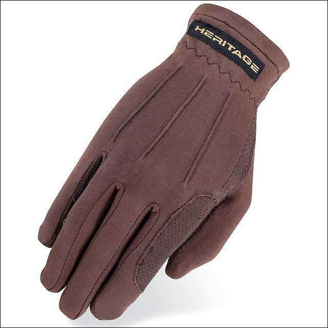 08 SIZE HERITAGE POWER GRIP STRETCHABLE NYLON HORSE RIDING EQUESTRIAN GLOVE BROW