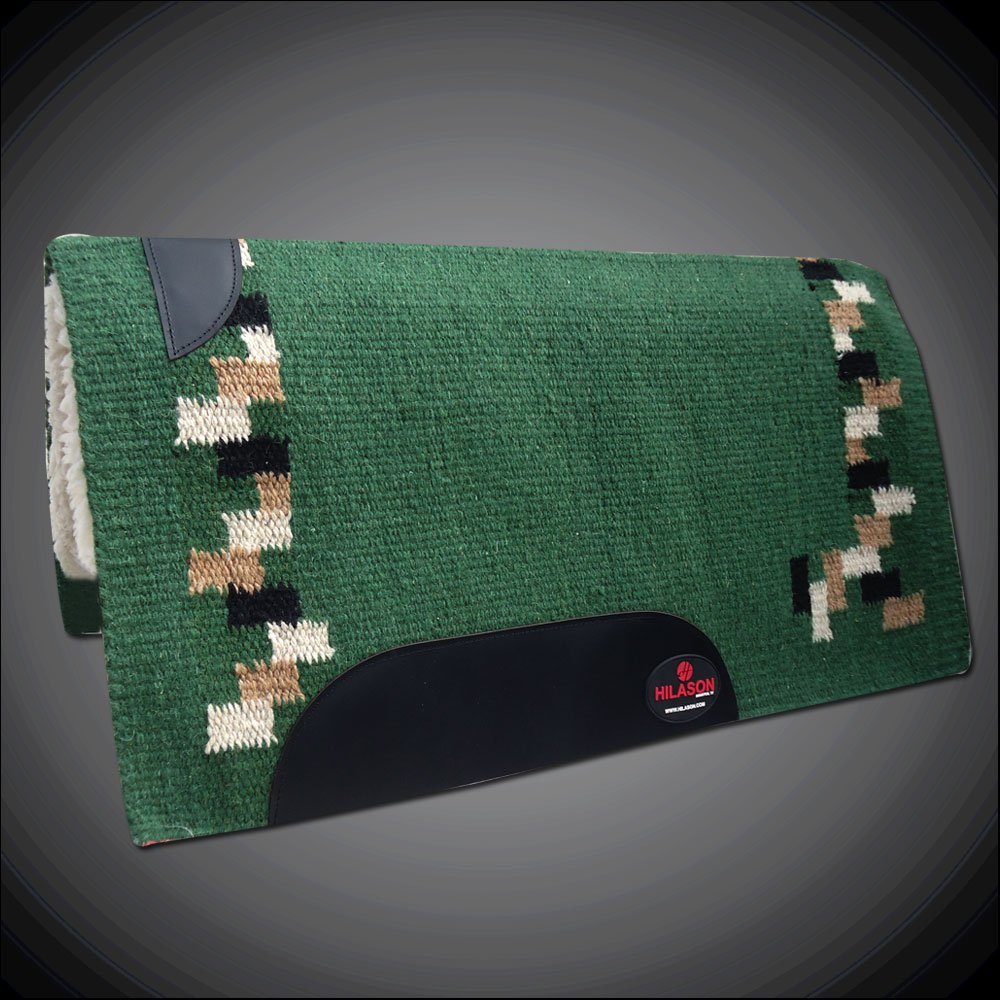 MADE IN USA HILASON WESTERN WOOL SHOCK BUSTER SADDLE BLANKET PAD HUNTER GREEN