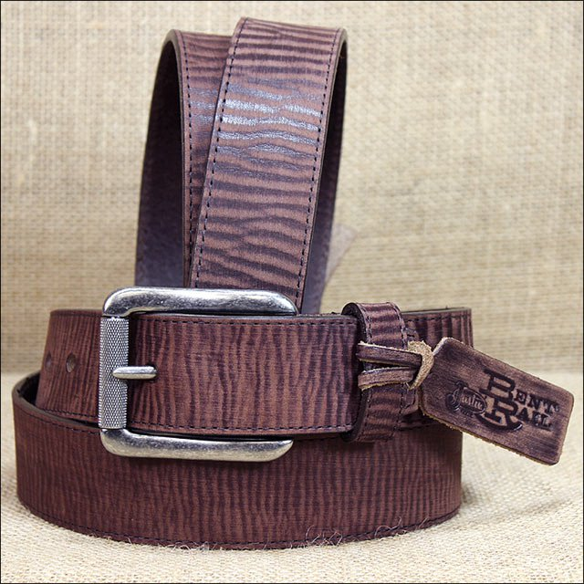 """44"""" x 1.5"""" JUSTIN BENT RAIL SANDED BROWN LEATHER BOMBER BELT MADE IN THE USA"""