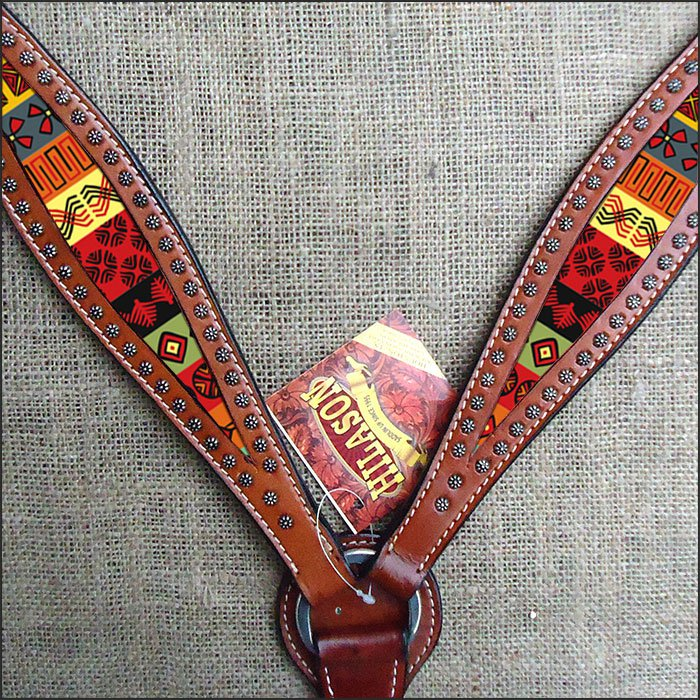 HILASON WESTERN LEATHER HORSE BREAST COLLAR MAHOGANY W/ AZTEC INLAY