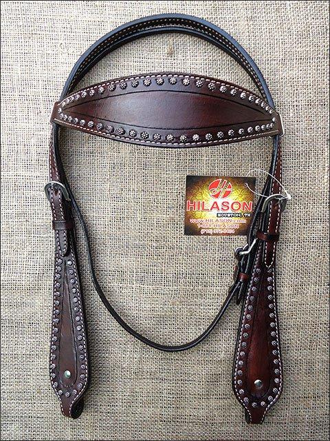 S463 HILASON WESTERN LEATHER HORSE BRIDLE HEADSTALL - DARK BROWN