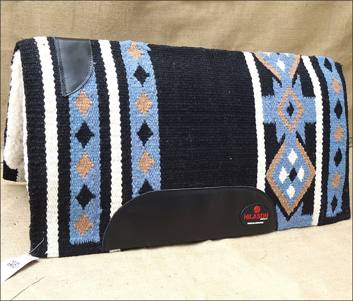 FEP258 MADE IN USA HILASON WESTERN WOOL SHOCK BUSTER SADDLE BLANKET PAD BLACK