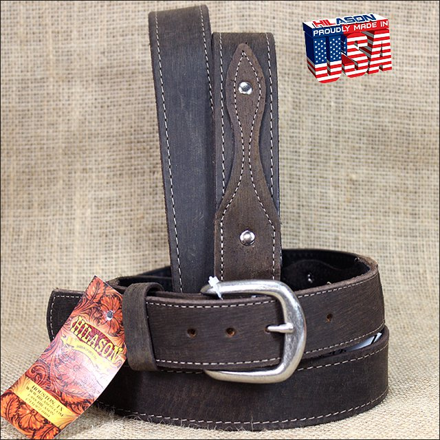 54 INCH DISTRESS BROWN LEATHER RANGER BELT CLASSIC 3 PIECE STYLING MADE IN USA