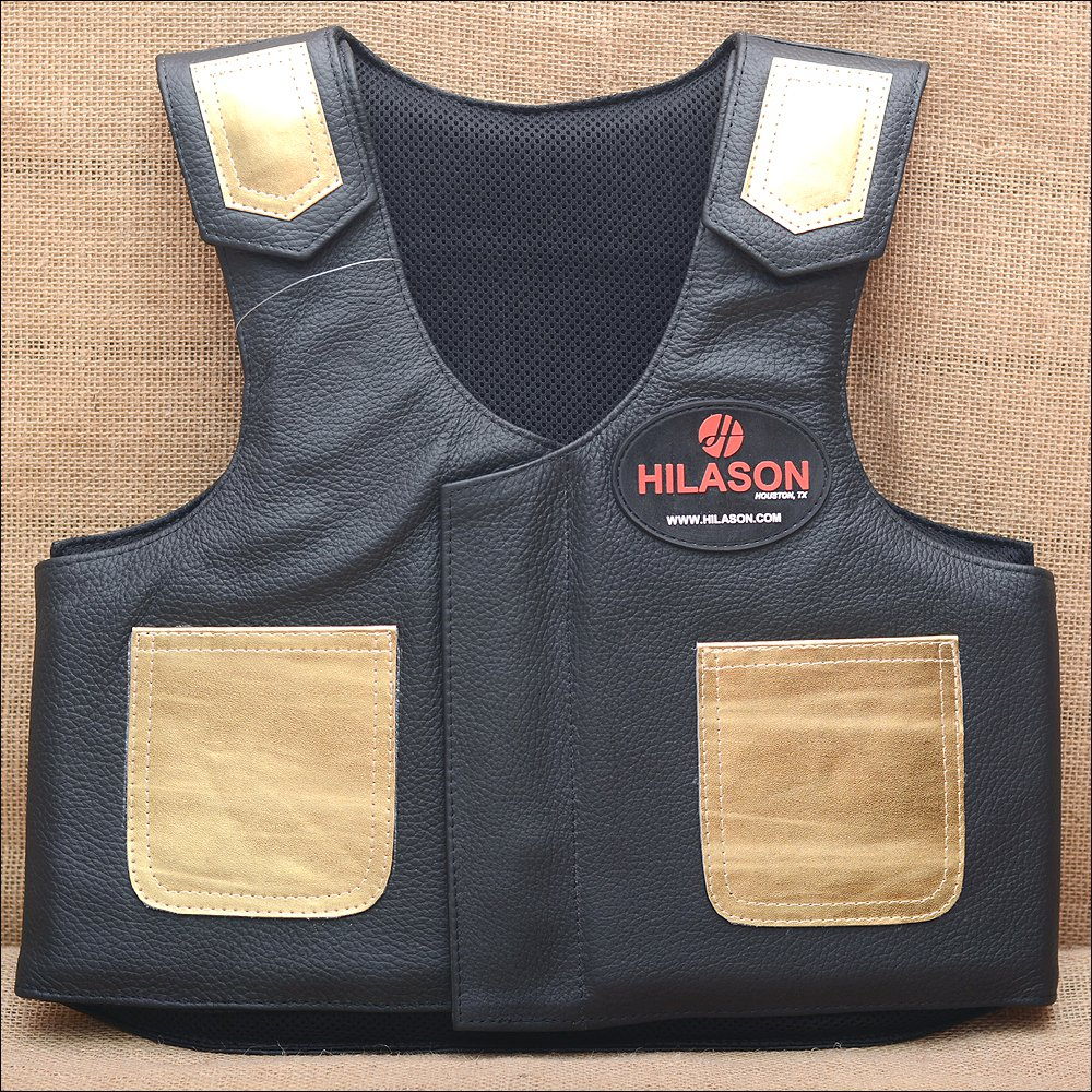 PV201Y-F HILASON KIDS JUNIOR YOUTH BULL RIDING PRO RODEO LEATHER PROTECTIVE VEST