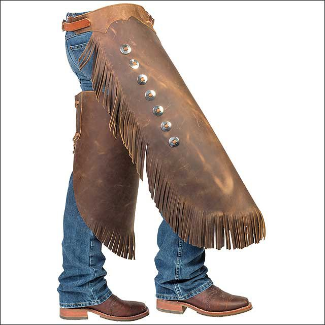 MEDIUM WEAVER BROWN PULL UP LEATHER HANDCRAFTED WORK RIDING CHINKS STEEL CONCHO