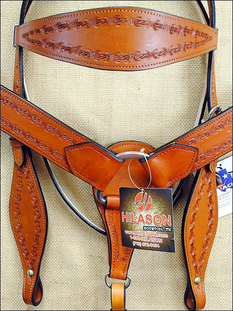 HILASON WESTERN TOOL LEATHER HORSE BRIDLE HEADSTALL BREAST COLLAR SADDLE TAN A21