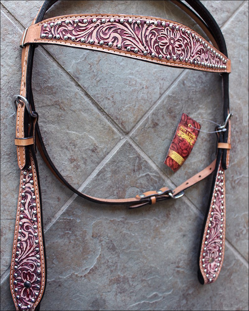 HILASON WESTERN LEATHER HORSE BRIDLE HEADSTALL ANTIQUE MAHOGANY