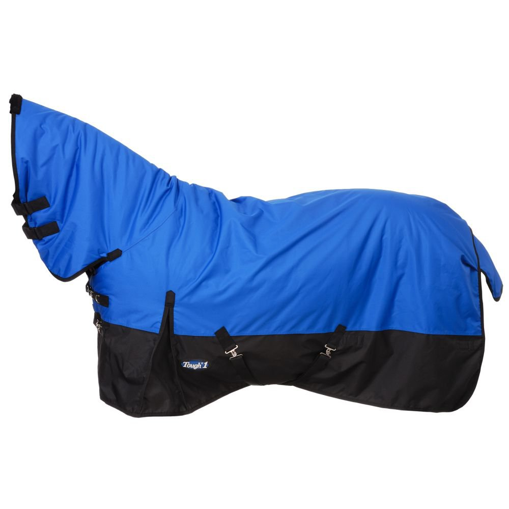 """75"""" TOUGH-1 600D WATERPROOF POLY HORSE FULL NECK TURNOUT BLANKET BLUE ROYAL"""