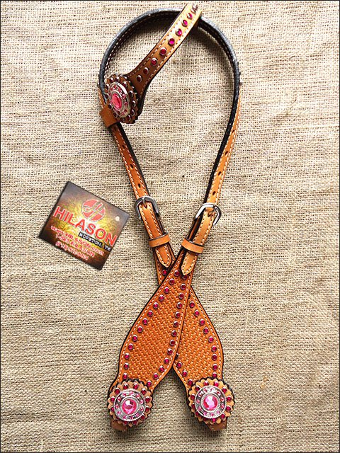 S502 HILASON WESTERN LEATHER HORSE ONE EAR BRIDLE HEADSTALL TAN W/ PINK CONCHOS