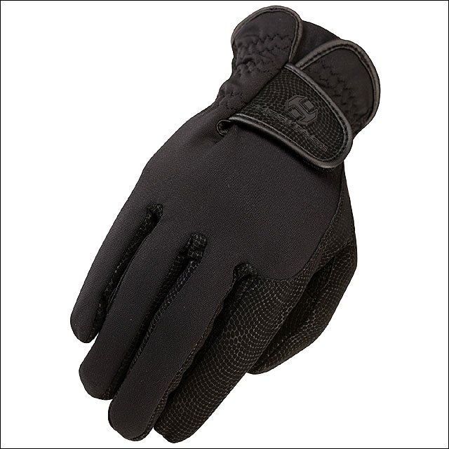 07 SIZE HERITAGE SPECTRUM WINTER HORSE RIDING BREATHABLE LEATHER GLOVE BLACK