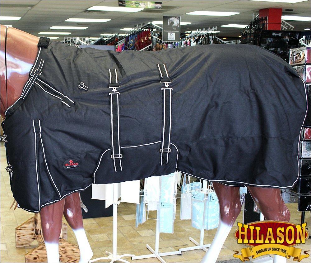 "72"" HILASON 1200D RIPSTOP WATERPROOF POLY HORSE WINTER SHEET BELLY WRAP BLACK"