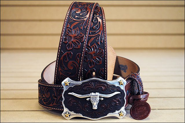 42in. JUSTIN CLASSIC WESTERN GENUINE LEATHER MEN BELT LONGHORN BUCKLE BROWN