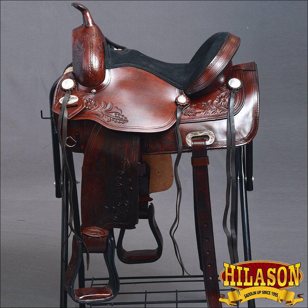 TO107M-F HILASON TREELESS WESTERN LEATHER TRAIL PLEASURE HORSE RIDING SADDLE 16""