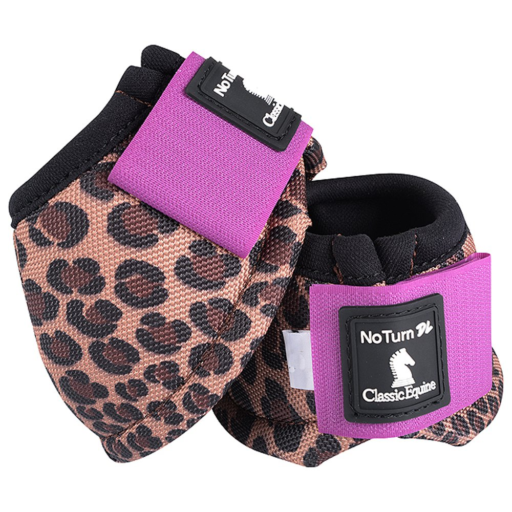 LARGE CLASSIC EQUINE NO TURN 2520D DYNOHYDE HORSE LEG BELL BOOTS CHEETAH VIOLET