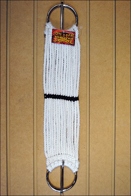 26 in. HILASON HORSE CINCH PONY 15 STRAND NP PLATED RING TONGUE WHITE MADE IN