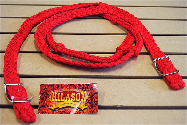 RED BRAIDED POLY BARREL RACING CONTEST REINS FLAT W/EASY GRIP KNOTS 1 INCH X 8FT