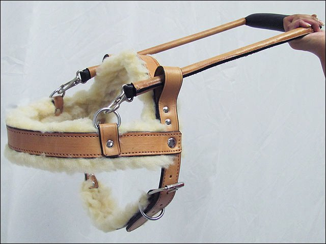 GH201-F HILASON TAN GENUINE LEATHER X LARGE ASSISTANCE DOG HARNESS WITH HANDLE