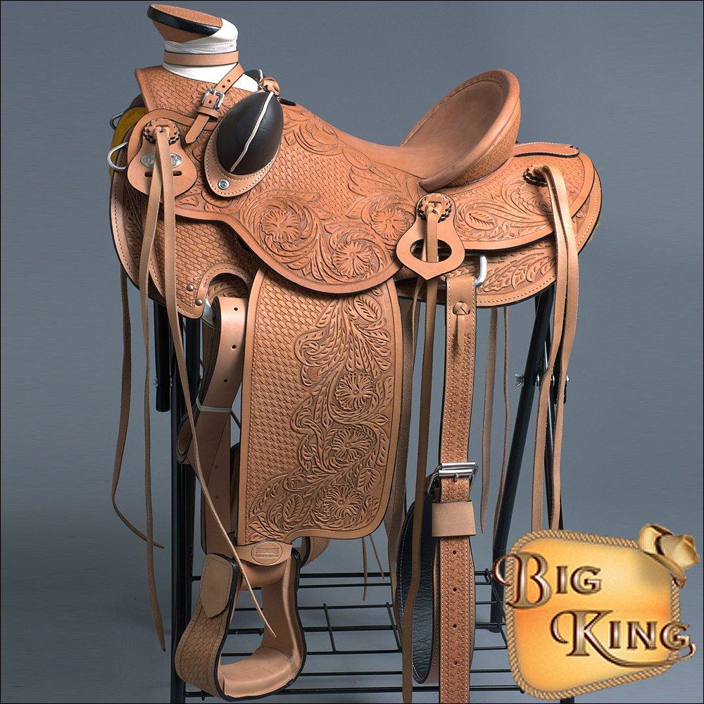 WD090-F HILASON BIG KING SERIES WESTERN WADE RANCH ROPING COWBOY TRAIL SADDLE 16