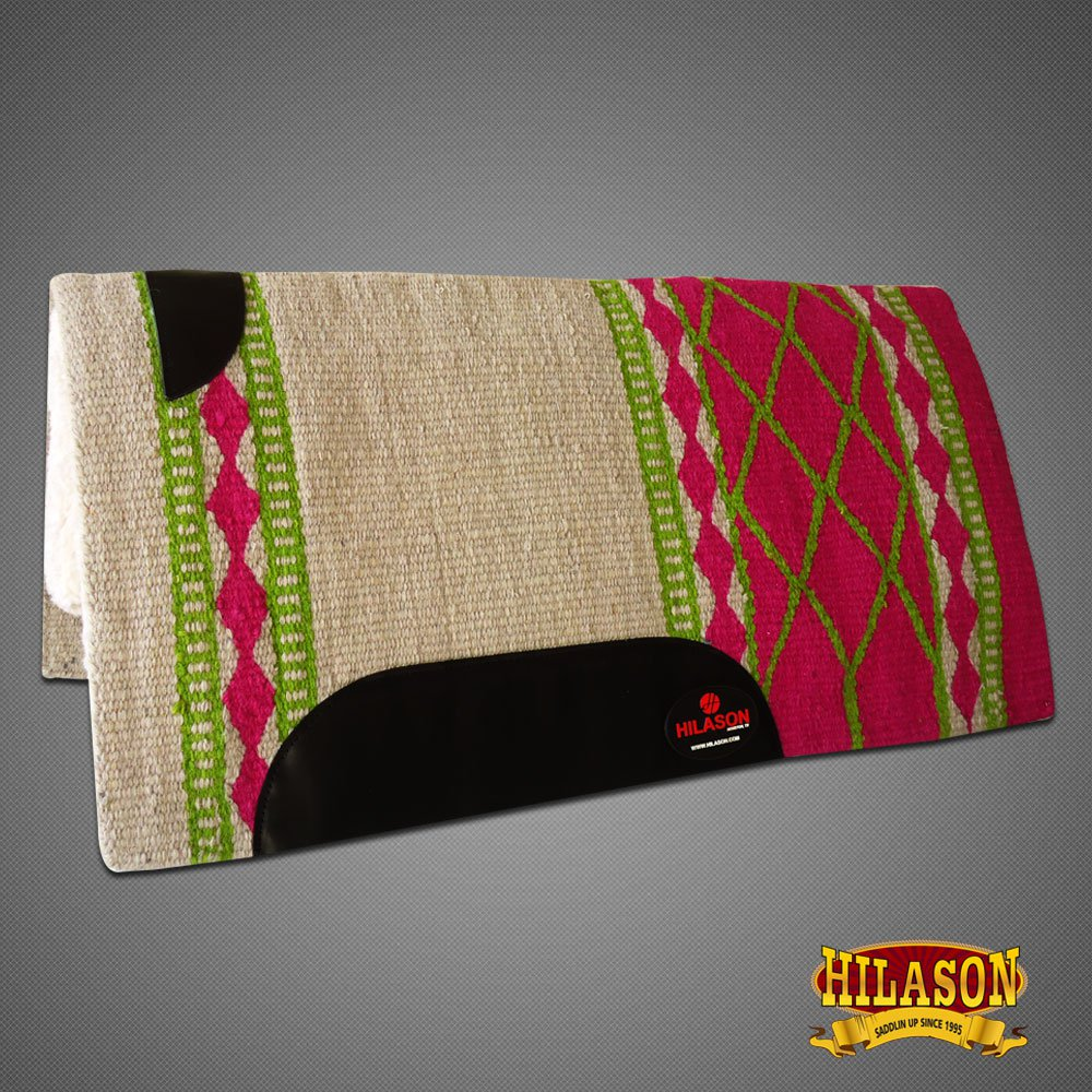 FEP254 MADE IN USA HILASON WESTERN WOOL FELT SADDLE BLANKET PAD WHITE FUCHSIA
