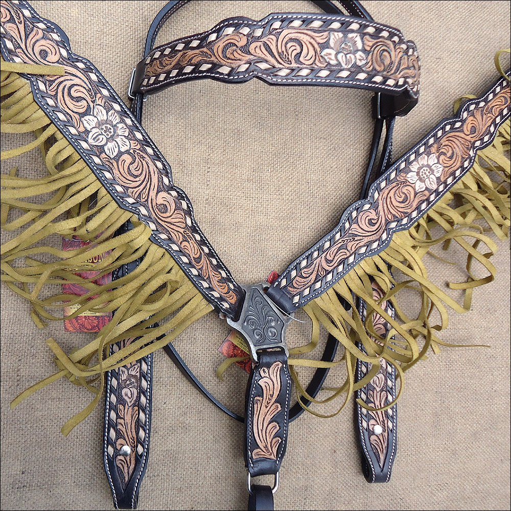 HILASON WESTERN LEATHER HORSE HEADSTALL BREAST COLLAR BLACK TAN W/ FRINGES