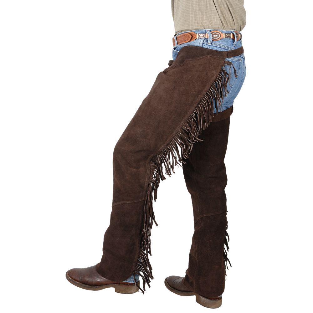 MEDIUM TOUGH 1 QUALITY SUEDE LEATHER WESTERN FRINGED CHAPS BROWN