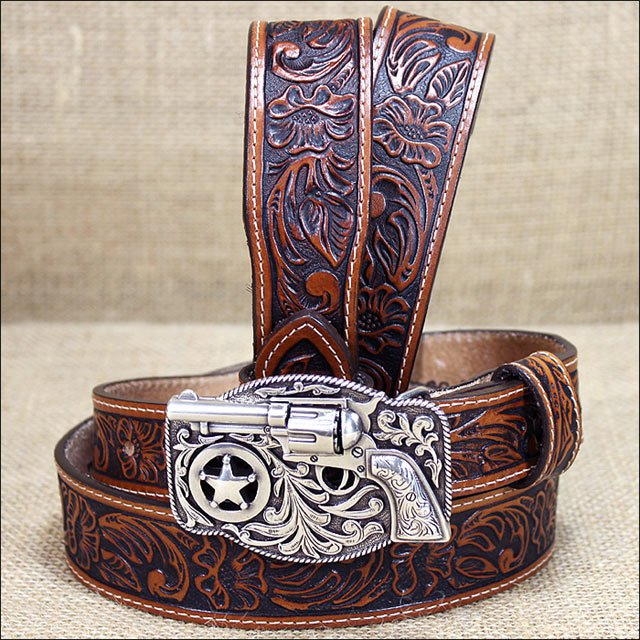 24 inch JUSTIN TAN EMBOSSED LEATHER LIL TRIGGER WESTERN BELT REVOLVER BUCKLE