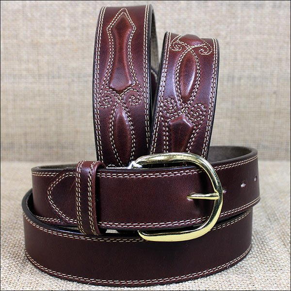 42 inch SILVER CREEK BROWN OIL FANCY PADDED MEN'S LEATHER BELT COWBOY