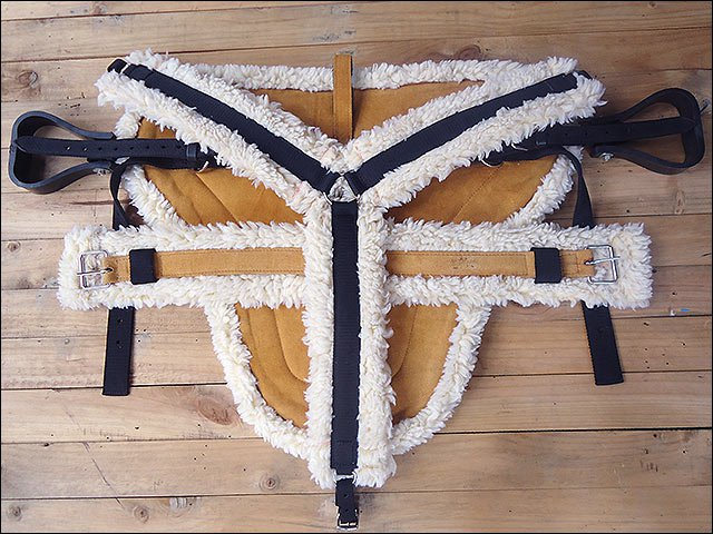 HILASON WESTERN HORSE SIZE TAN SUEDE LEATHER BAREBACK PAD, BREAST COLLAR & GIRTH