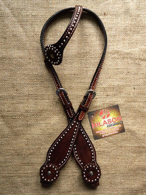 HILASON WESTERN LEATHER HORSE ONE EAR BRIDLE HEADSTALL DARK BROWN