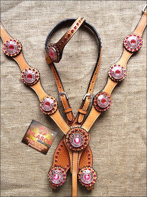 HILASON WESTERN LEATHER HORSE ONE EAR HEADSTALL BREAST COLLAR TAN W/ PINK CONCHO