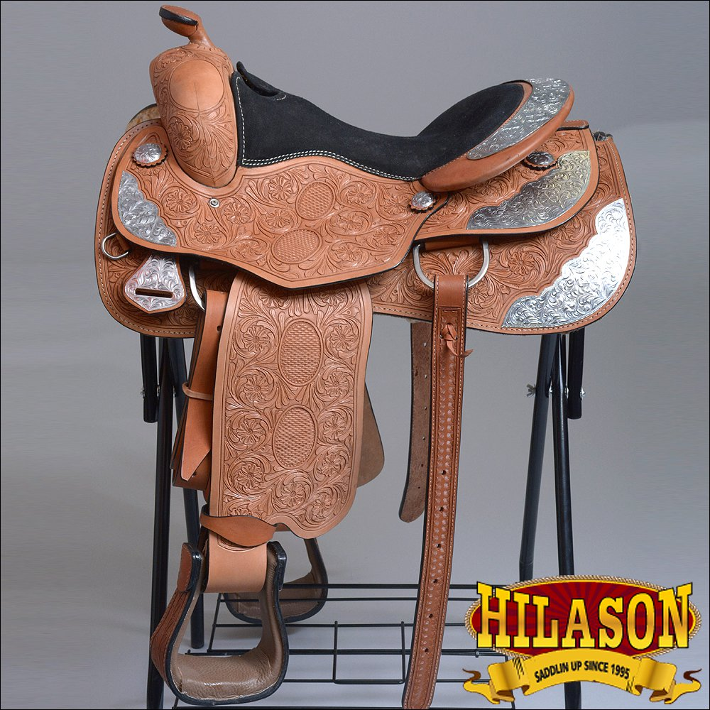 "OS064TK 16"" HILASON WESTER LEATHER EQUITATION SHOW TRAIL PLEASURE SADDLE"