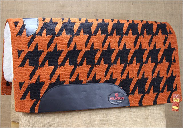 MADE IN USA FE206-F HILASON WESTERN WOOL FELT SADDLE BLANKET PAD ORANGE BLACK