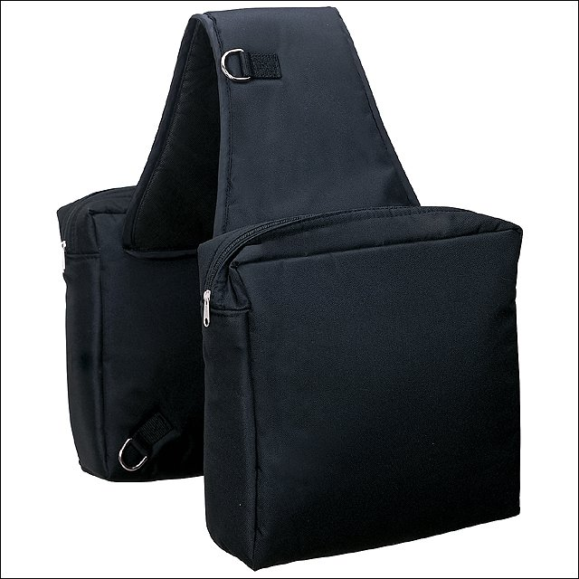 WEAVER HEAVY DUTY DURABLE NYLON SADDLE BAG ZIP CLOSURE NP HARDWARE BLACK