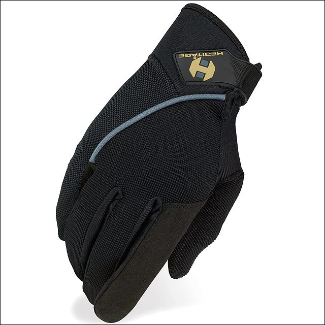 07 SIZE HERITAGE COMPETITION HORSE RIDING GLOVE LYCRA NYLON LEATHER BLACK