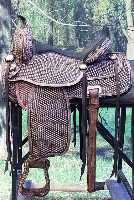 TT105RO-F HILASON FLEX-TREE TRAIL PLEASURE WESTERN ENDURANCE LEATHER SADDLE 15""
